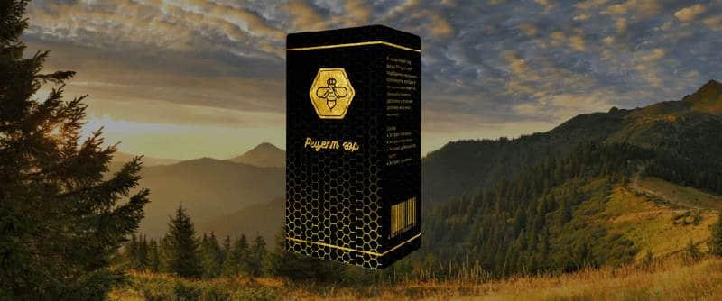 упаковка с препаратом на фоне гор