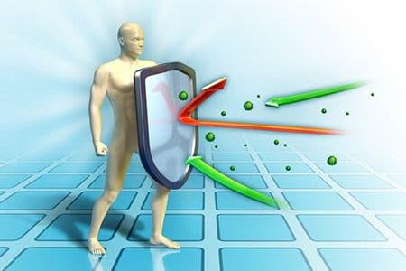 рисунок мужчины отбивается от вирусов
